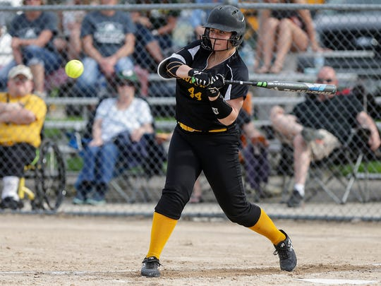Waupun High School softball's Kylle Hraban swings at a pitch against Kewauskum High School Tuesday, May 8, 2018 during their game in Waupun. Doug Raflik/USA TODAY NETWORK-Wisconsin