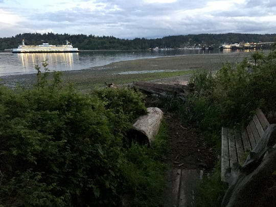 A Washington State Ferry passes Bainbridge Island's Hawley Cove Park at dusk on Thursday.