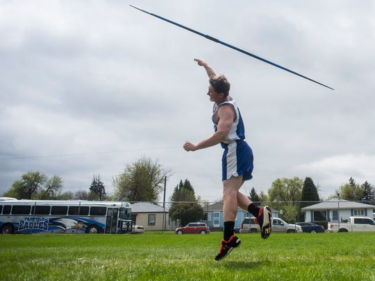 Fairfield's Levi Wipf competes in javelin throw during