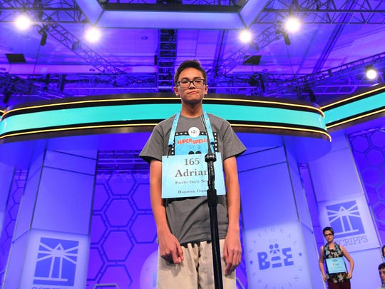"Adrian James Beltran from Guam spelled the word ""palmette"" correctly during the 2018 Scripps National Spelling Bee at the Gaylord National Resort and Convention Center. Beltran is a seventh-grader from F.B. Leon Guerrero Middle School."