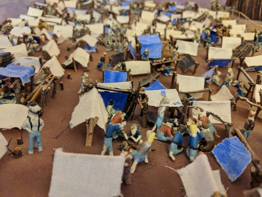 A diorama of Andersonville at the Civil War Tails at