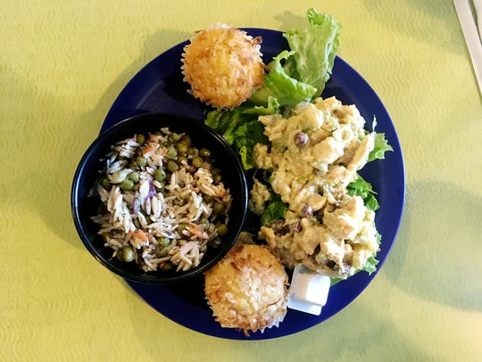 The Calypso chicken salad came with an orzo basil salad and two of the sweet Boija cornbred muffins.