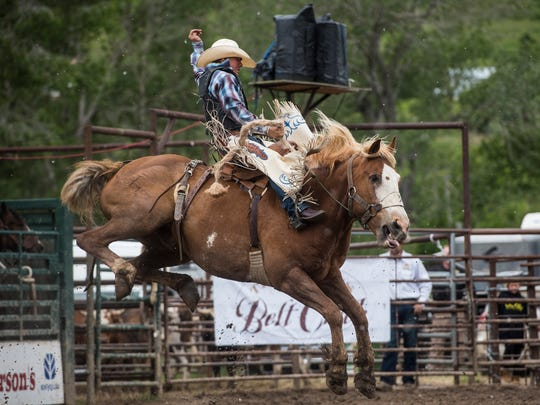 Chase Brooks competes in saddle bronc during the Belt Rodeo a few years ago.