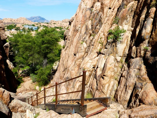 The Stairway Loop segment of Granite Gardens includes an actual staircase clambering up a rock face.