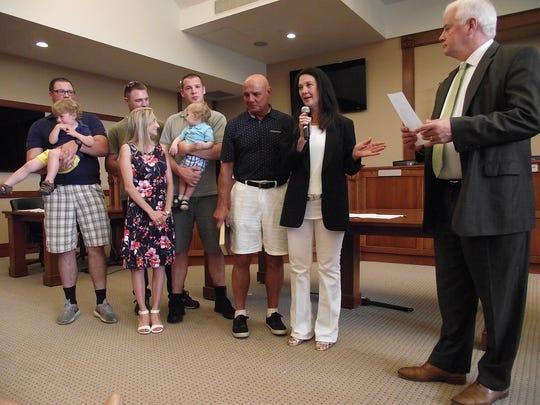 Former mayor Susan Knudsen is sworn in as the new deputy mayor on July 1, 2018.