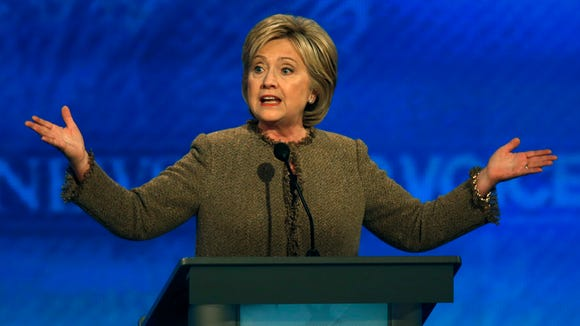 Hillary Clinton speaks during the Democratic presidential