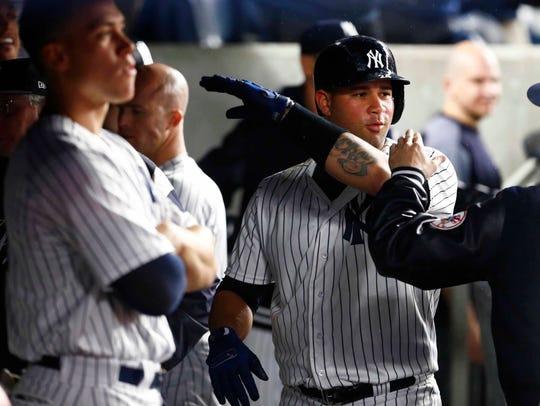 New York Yankees catcher Gary Sanchez (24) celebrates