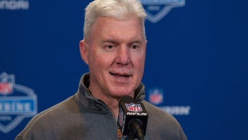 Packers general manager Ted Thompson speaks to the media during the 2016 NFL scouting combine at Lucas Oil Stadium in Indianapolis.