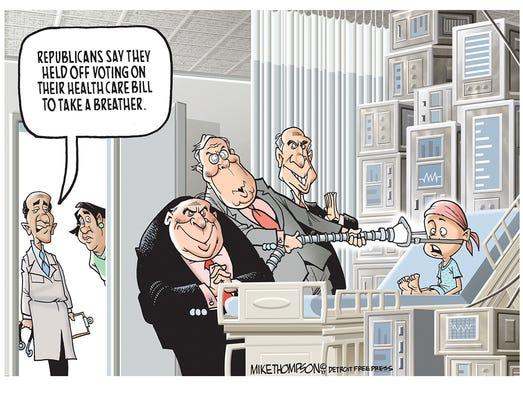 Republican senators hold off voting on their health