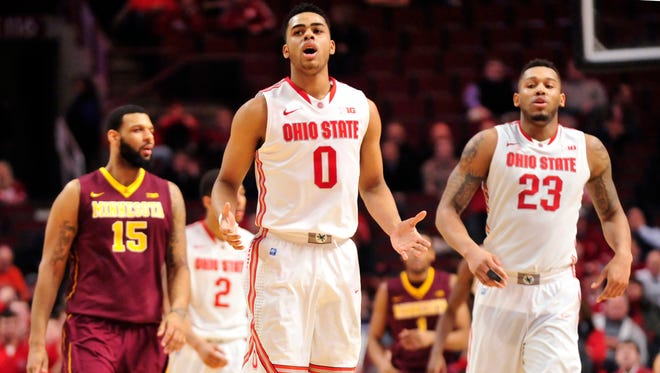 Ohio State Buckeyes guard D'Angelo Russell (0) celebrates his 3-point basket during the second half in the second round of the Big Ten Tournament at the United Center on Thursday night.