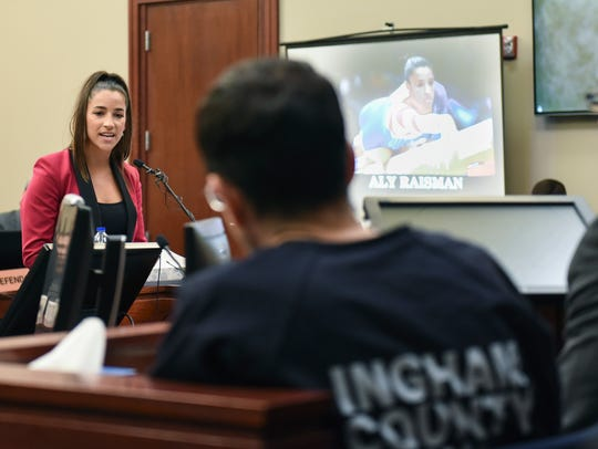 Former Olympian Aly Raisman confronts Larry Nassar