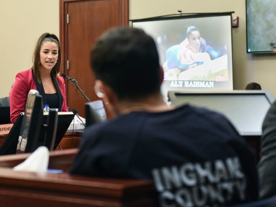 Former Olympian Aly Raisman confronts Larry Nassar in Circuit Judge Rosemarie Aquilina's courtroom during the fourth day of a sentencing hearing for the former sports doctor, who pled guilty to multiple counts of sexual assault, Friday, Jan. 19, 2018, in Lansing, Mich.