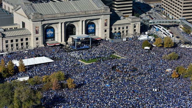 Fans gather for a rally to celebrate the Kansas City Royals winning baseball's World Series at Union Station on Tuesday, Nov. 3, 2015, in Kansas City, Mo. The Royals beat the New York Mets in five games to win the championship.
