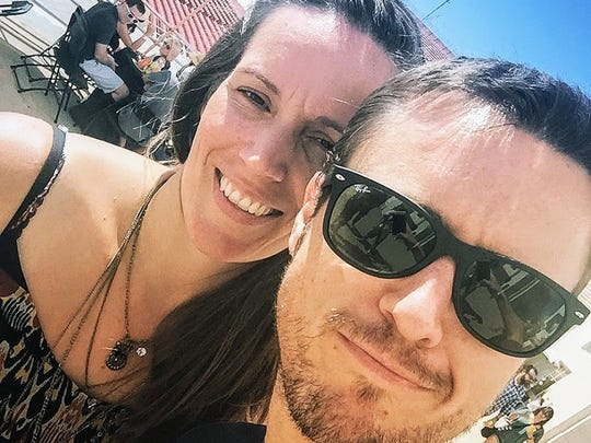 Jarrod Burt and his wife Sarah, in a selfie photo. Burt is nominated for two Creative Arts Emmy Awards this year for the first time. The ceremony will air on Sept. 16 on FXX.