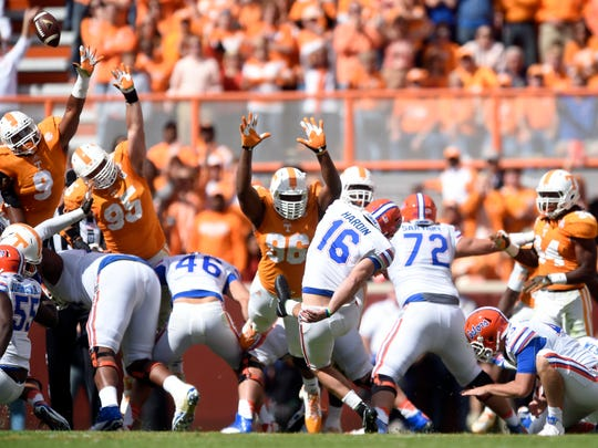 Florida kicker Austin Hardin (16) scores a field goal against Tennessee during the second half at Neyland Stadium, Oct. 4, 2014, in Knoxville. Tennessee lost to Florida 10-9.