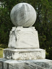 This marble monument in the Trinity Lutheran Church cemetery was dedicated to Michael and Margaret Koiner and unveiled in October 1892.