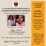 Flyer for Jermani Brooks vigil.