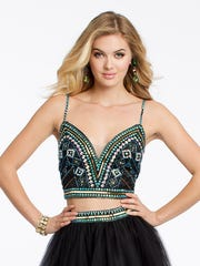 Camille La Vie and Group USA list this year's prom dress trends as bright colors, illusion styles, lace, two-pieces and two-tones.
