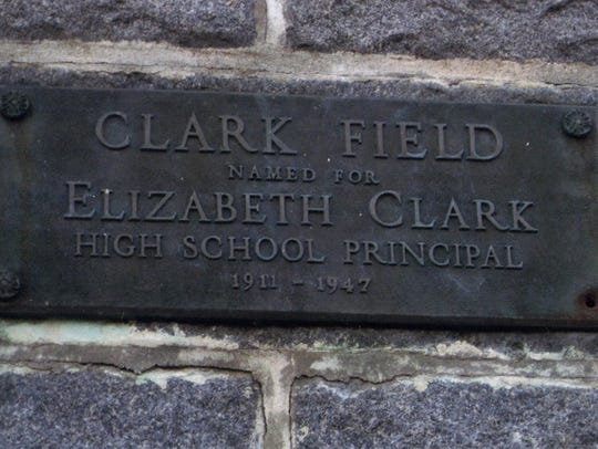 The sign for Clark Field, named for Elizabeth Clark,