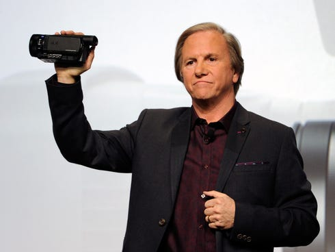 Sony Electronics President and COO Mike Fasulo displays a Sony 4K Handycam during a Sony press event in Las Vegas.