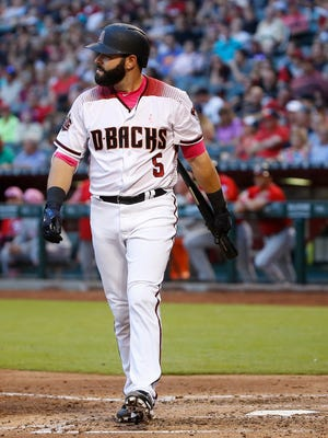 Diamondbacks Alex Avila (5) walks back to the dugout after striking out for the second time against Nationals Jeremy Hellickson (58) during the fifth inning at Chase Field in Phoenix, Ariz. on May 13, 2018.