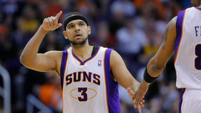 Jared Dudley celebrates after a basket for the Suns against the Los Angeles Lakers on Feb. 19, 2012 in Phoenix.