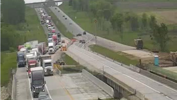 This photo shows traffic backed up  after a crash in a work zone on I-35 in Warren County in May 2016 that injured three people. Portions of the interstate were closed for more than an hour, and traffic was rerouted.  One person was killed in a head-one crash in the same area of I-35 in June 2016.