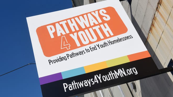A sign on March 9, 2018, marks the entrance to Pathways 4 Youth, a homeless youth opportunity center in St. Cloud.