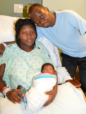 Redeline and Faustin Forestal welcome their son, Beethoven, who was born at 12:45 a.m. on Jan. 1, 2017, making him the first child born at Peninsula Regional Medical Center in 2017.