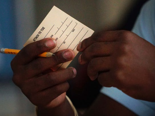 Students at Dickinson High School were handed toe tags