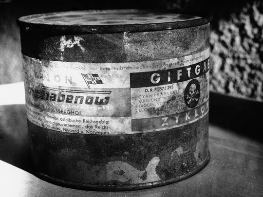 This canister of poisonous Zyklon-B Gas, Feb. 25, 1961,
