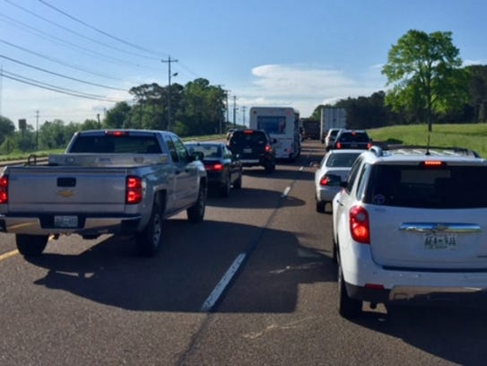 Traffic being rerouted on the US 45 Bypass in South