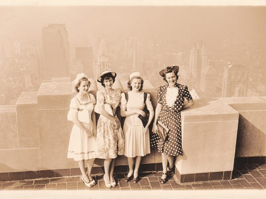 Dorothy Franques Bordelon (second from left) with friends atop the Empire State Building in 1939.
