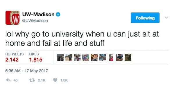 The University of Wisconsin-Madison's Twitter account has been hacked, UW police reported Wednesday morning.