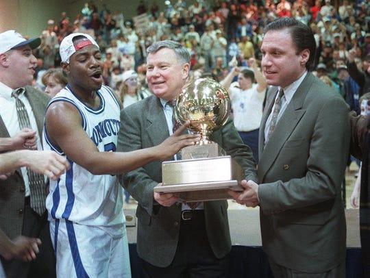 Monmouth coach Wayne Szoke (center) and Jeff Franklin