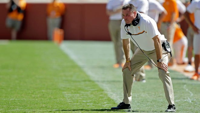 Tennessee coach Butch Jones looks on from the sideline in the second half against Ohio at Neyland Stadium on Sept. 17, 2016.