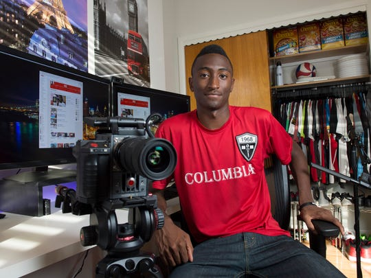 Marques Brownlee does YouTube tech reviews from his Hoboken, N.J., apartment.