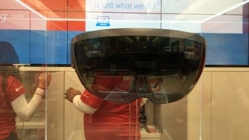 HoloLens headgear is in a case at the Microsoft Store on Fifth Avenue