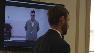 Michael Medici, 29, of Dover appears via video feed from the Morris County Correctional Facility at a bail hearing in morristown folloowing his arrest for aggravated assault of a Dover police officer on Saturday, Feb. 6. Assistant prosecutor Christopher Schellhorn argues for the state.