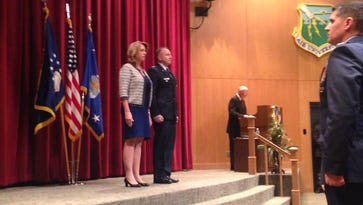 Secretary of the Air Force Deborah Lee James spent her last day as secretary at Maxwell honoring an AWC instructor with two Silver Stars on Thursday.