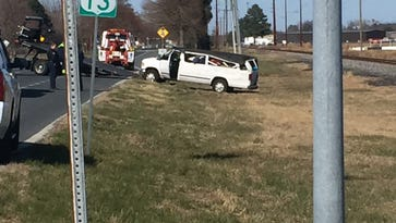 A van crashed on North Fruitland Boulevard on March 22, 2017.