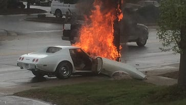 A Corvette struck a utility pole and burst into flames about 3:10 p.m. Monday on Patton Avenue near the Goodwill store. The driver got out of the car but was transported to the hospital.