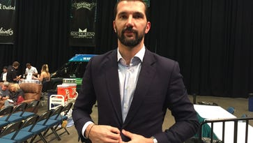 Reno Bighorns general manager Peja Stojakovic at the Reno Events Center on Wednesday.