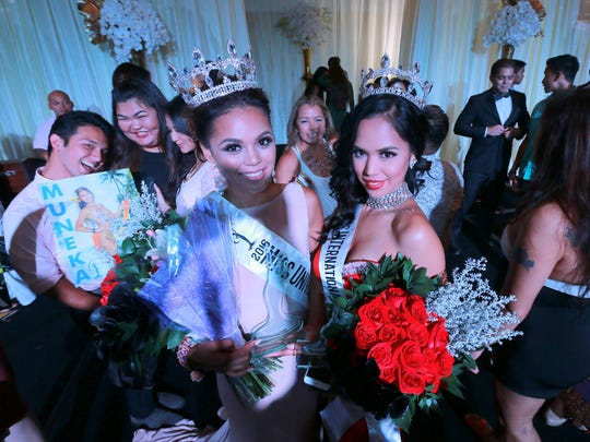 Miss Universe Guam Muñeka Taisipic, left, and 2016 Miss International Guam, Annalen Buan, with their winning smiles at the Hyatt Regency Guam on Thursday, Sept. 8.