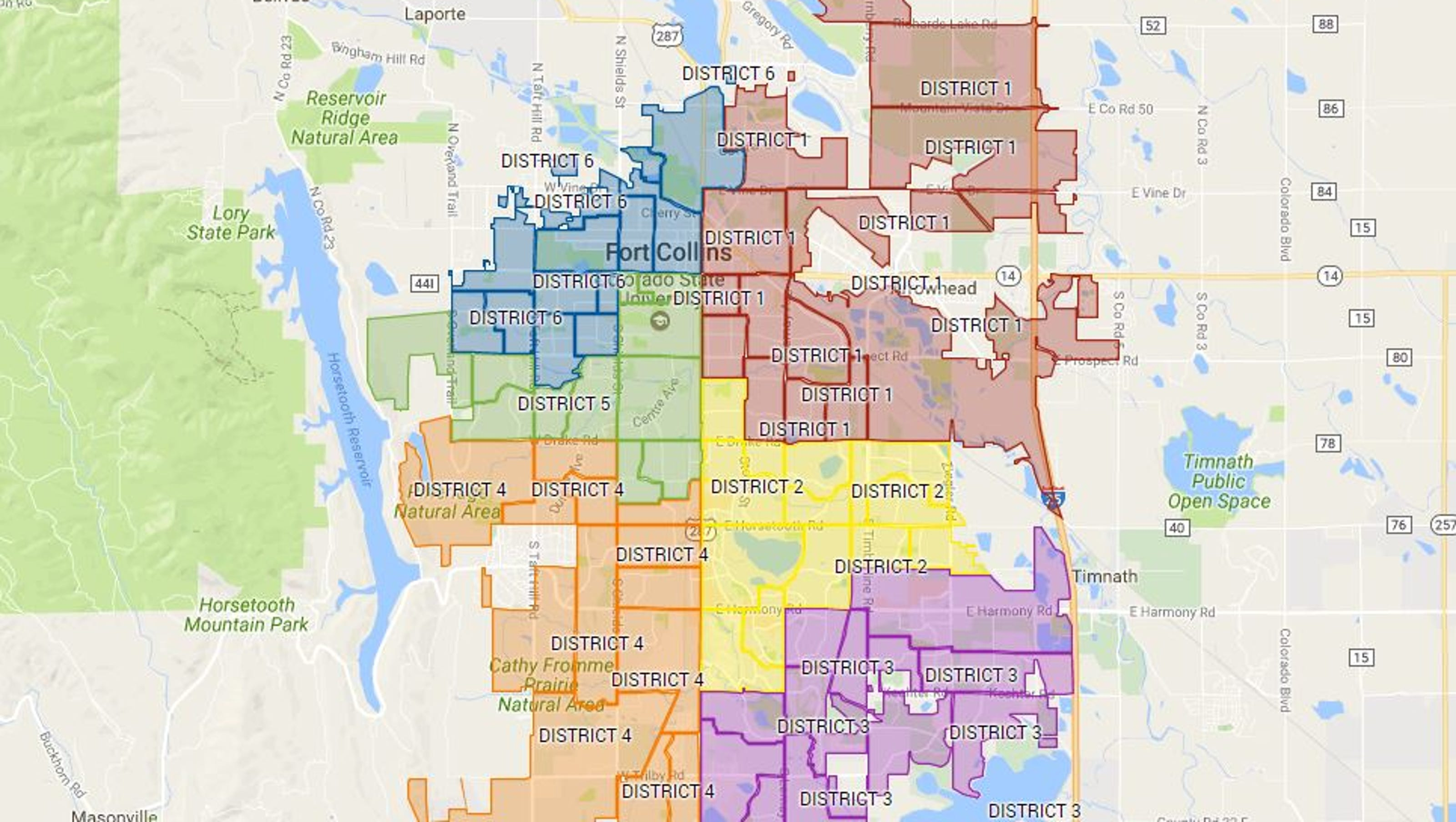 Map Of Fort Collins Map: Fort Collins City Council Districts Map Of Fort Collins