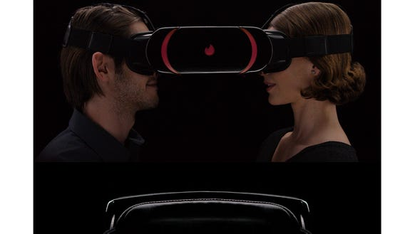 A screenshot of the Tinder VR fake headset.