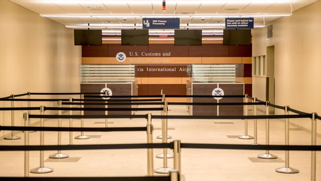 Although the General Wayne A. Downing Peoria International Airport has no regularly scheduled passenger service outside U.S. borders, the U.S. Customs and Border Protection facility at the airport is set up to process passengers and goods traveling internationally through connecting flights. It is also ready should the airport ever offer international flights.
