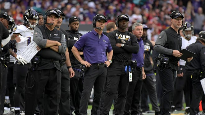 Baltimore Ravens head coach John Harbaugh has his team at 3-2 heading into Sunday's clash with the Bears.
