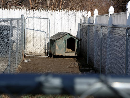 An empty dog house in the backyard of a house on Baylis
