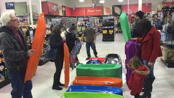 The sled aisle at the Harpeth True Value in Harpeth in Franklin was seeing brisk business on Sunday.